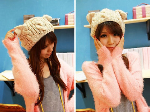 Funny Knitted Beanies With Ears