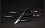 Japanese Black Carbon Steel Straight Katanas Not Sharpened