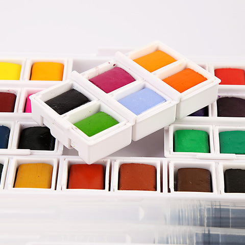 12/36/40 High Quality Solid Watercolor Paint Box With Refillable Paintbrush System