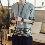 Wave & Fish Pattern Linen Shirts