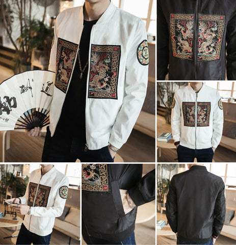 Dragon Pattern Embroidery Bomber Jacket
