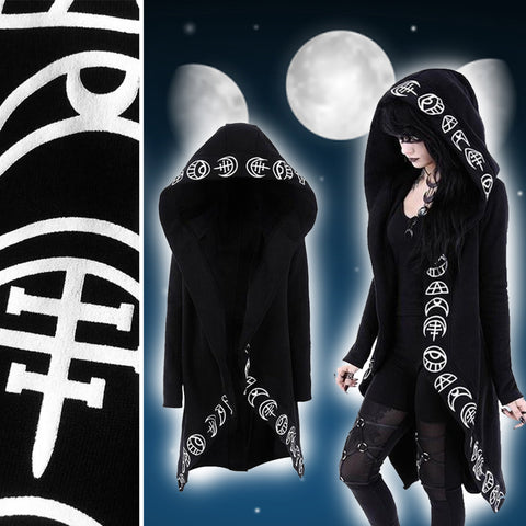 Witch Pattern Design Long Coated Hoodie
