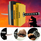 Magnetic Katana Bookends With Hidden Brackets