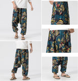 Fan Pattern Linen Pants