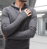 Folding Structure Hoodie With Thumb Gloves & Front Pocket