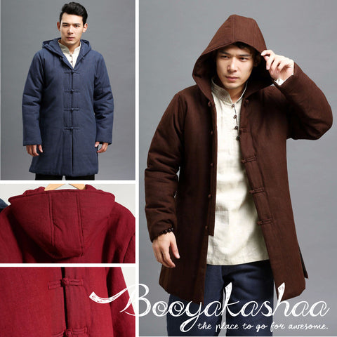 Traditional Button Hooded Linen Coat