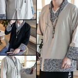 Traditional Wave Pattern Side Cut Linen Jackets
