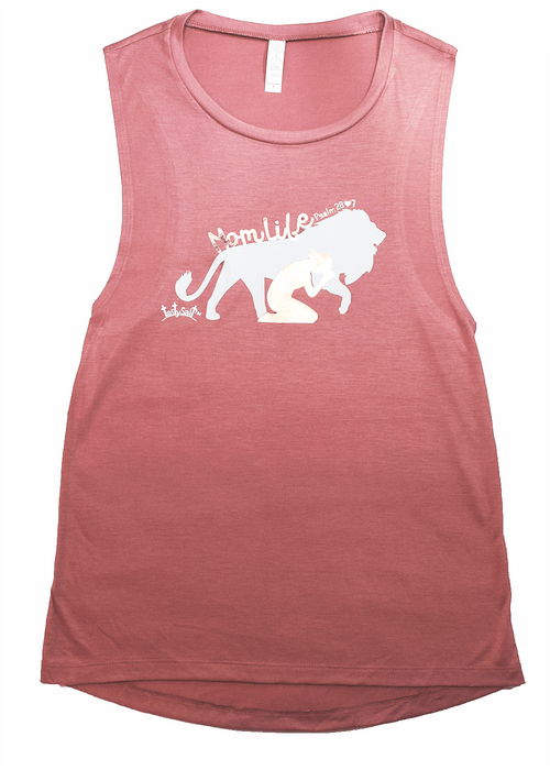 MomLife Rose Gold Flowy Muscle Tank