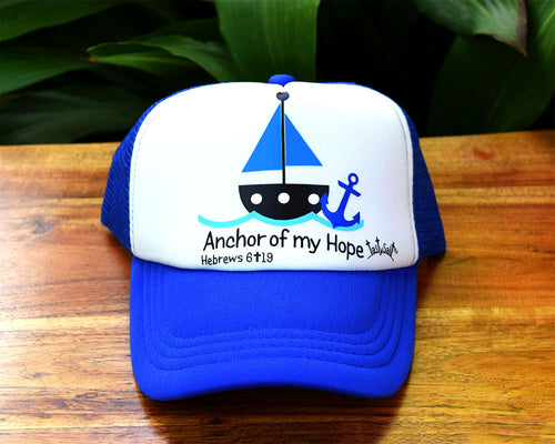 Anchor of my Hope Sailboat Boy's Trucker Hat