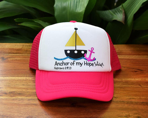 Anchor of my Hope Sailboat Girl's Trucker Hat