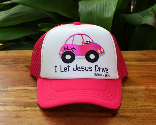 I Let Jesus Drive Girl's Trucker Hat