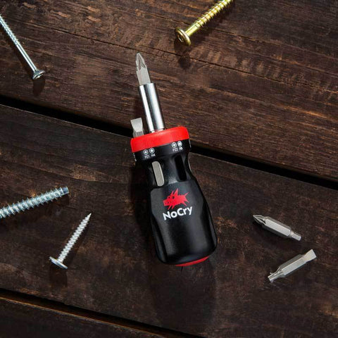 NoCry 12-in-1 Stubby Ratcheting Screwdriver for fix-ups all around the house