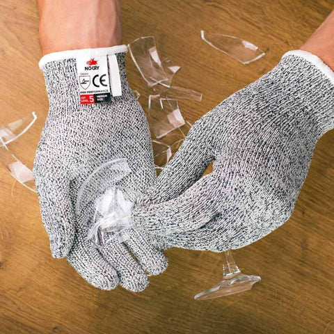 NoCry Cut Resistant Gloves With Grip Dots picking broken glass