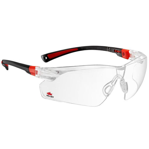 NoCry Scratch Resistant Safety Glasses black & red frames