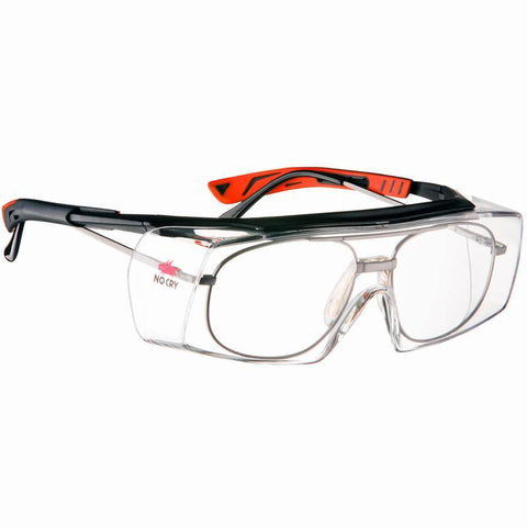 NoCry Wraparound Over-Glasses Safety Glasses black & red frames