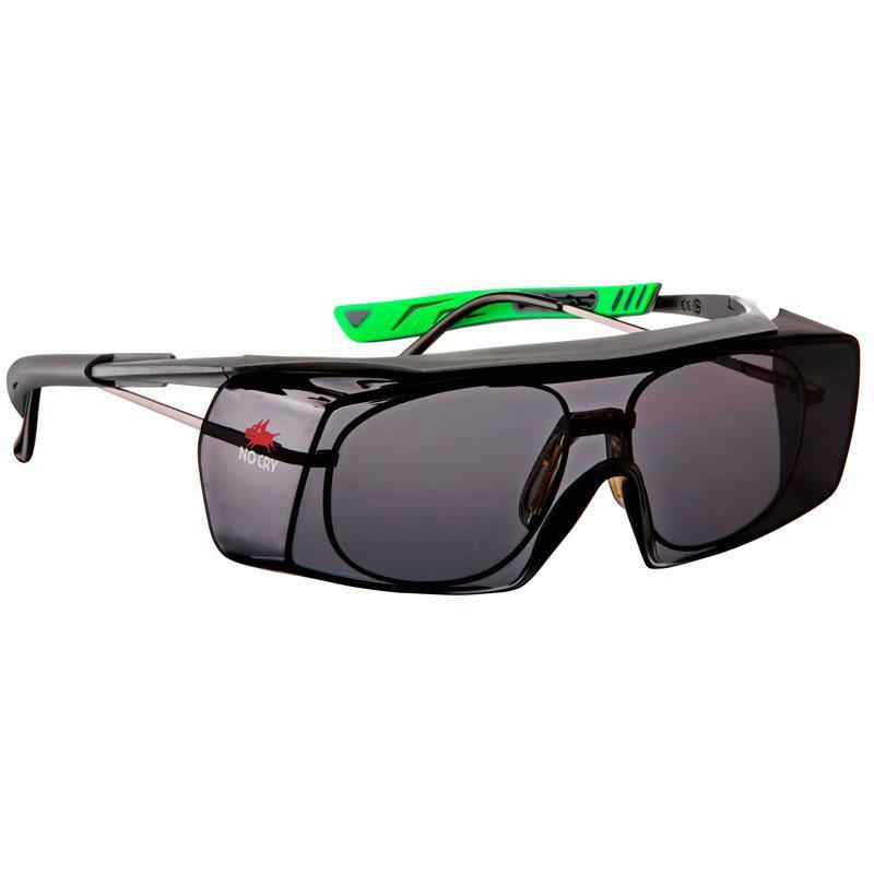 NoCry Wraparound Over-Glasses Safety Sunglasses grey & green frames