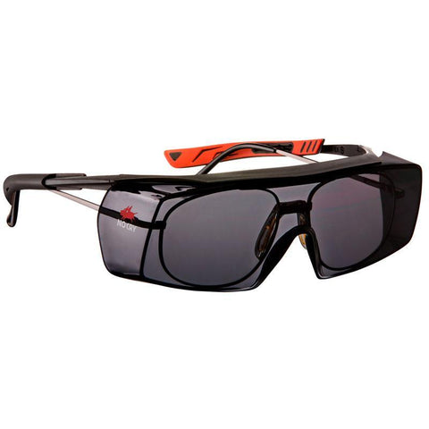 NoCry Wraparound Over-Glasses Safety Sunglasses black & red frames