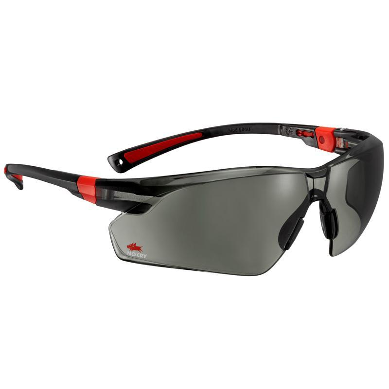 NoCry Scratch Resistant Safety Sunglasses black & red frames
