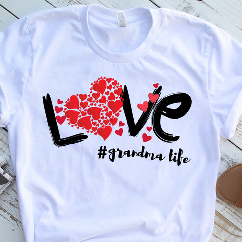 love grandma life white shirt