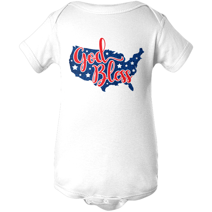 God Bless America Apparels BABY/INFANT ONESIE White NB