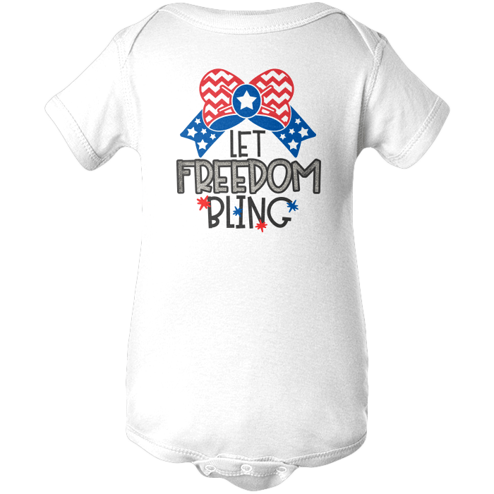 Let Freedom Bling Apparels BABY/INFANT ONESIE White NB