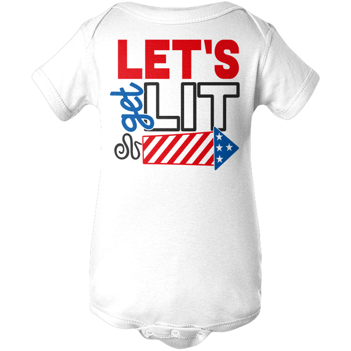 Lets Get Lit Apparels BABY/INFANT ONESIE White NB