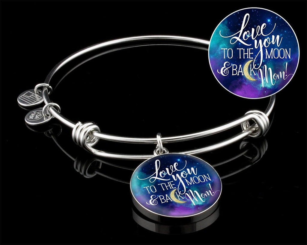 Mom Love You To The Moon Luxury Circle Bangle Jewelry