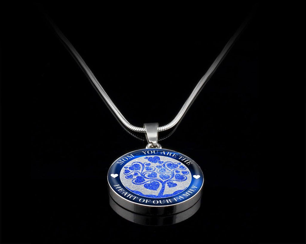 Heart Of The Family Luxury Necklace For Mom - Blue Jewelry Luxury Necklace (Silver) Yes