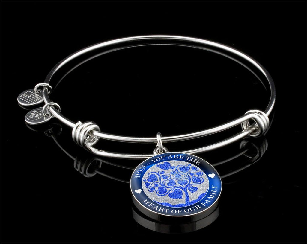Heart Of The Family Luxury Bangle For Mom - Blue Jewelry Luxury Bangle (Silver) Yes