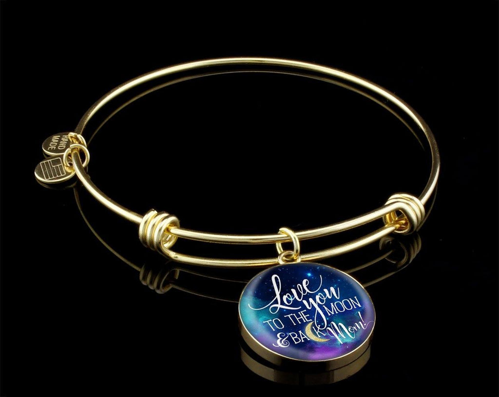 Mom Love You To The Moon Luxury Circle Bangle Jewelry Luxury Bangle (Gold) Yes