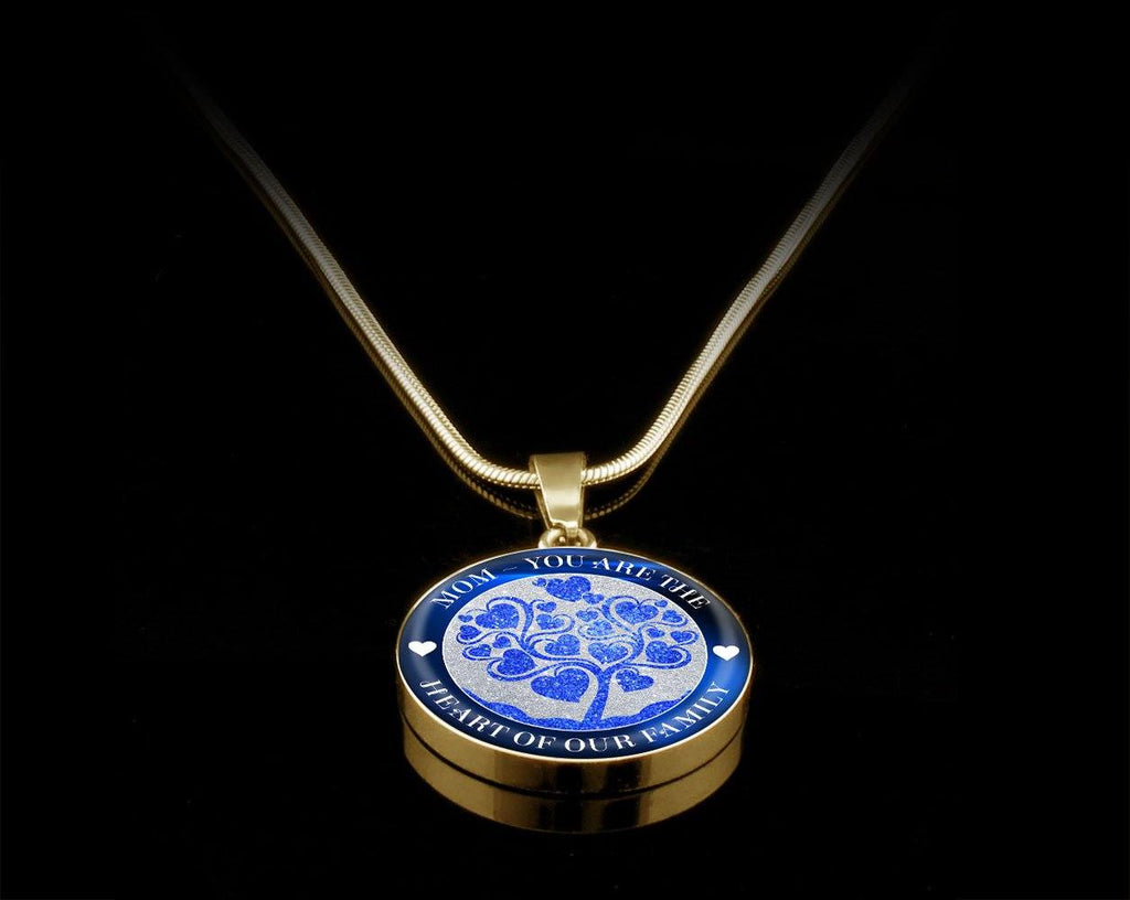 Heart Of The Family Luxury Necklace For Mom - Blue Jewelry Luxury Necklace (Gold) Yes