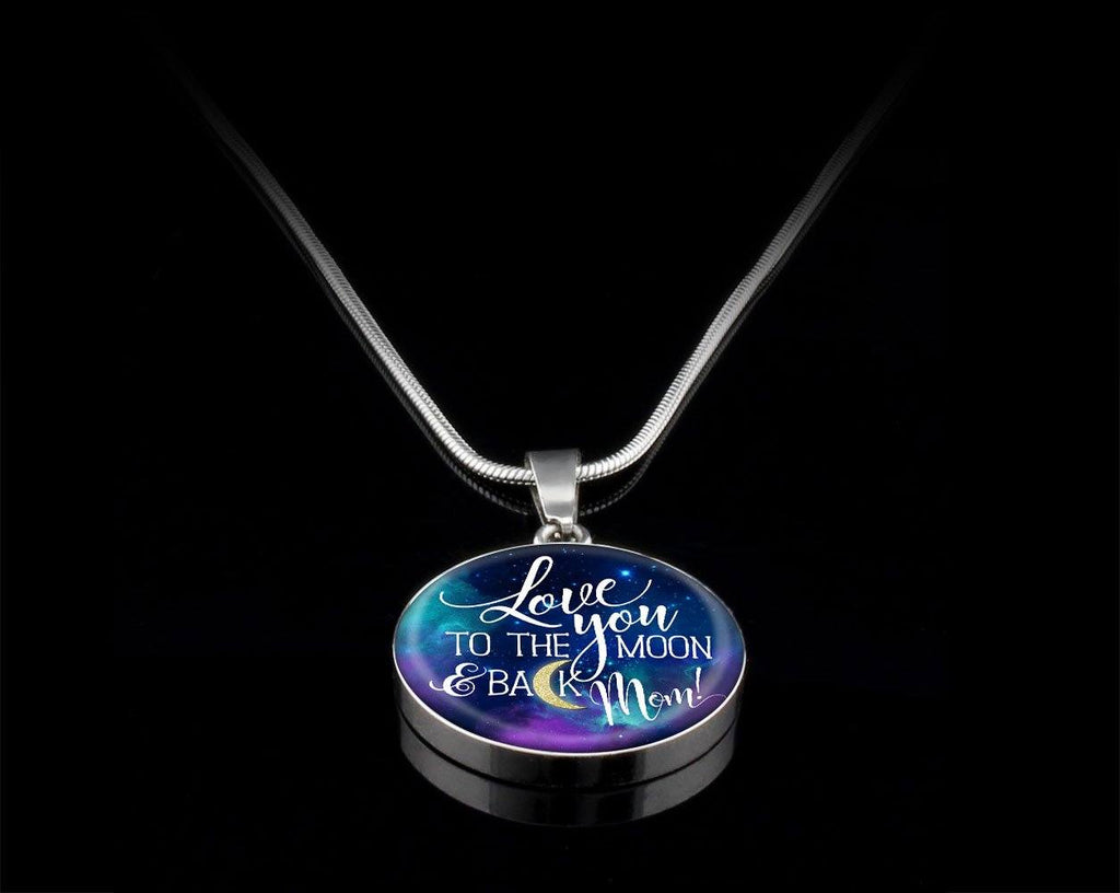 Mom Love You To The Moon Luxury Circle Necklace Jewelry Luxury Necklace (Silver) Yes
