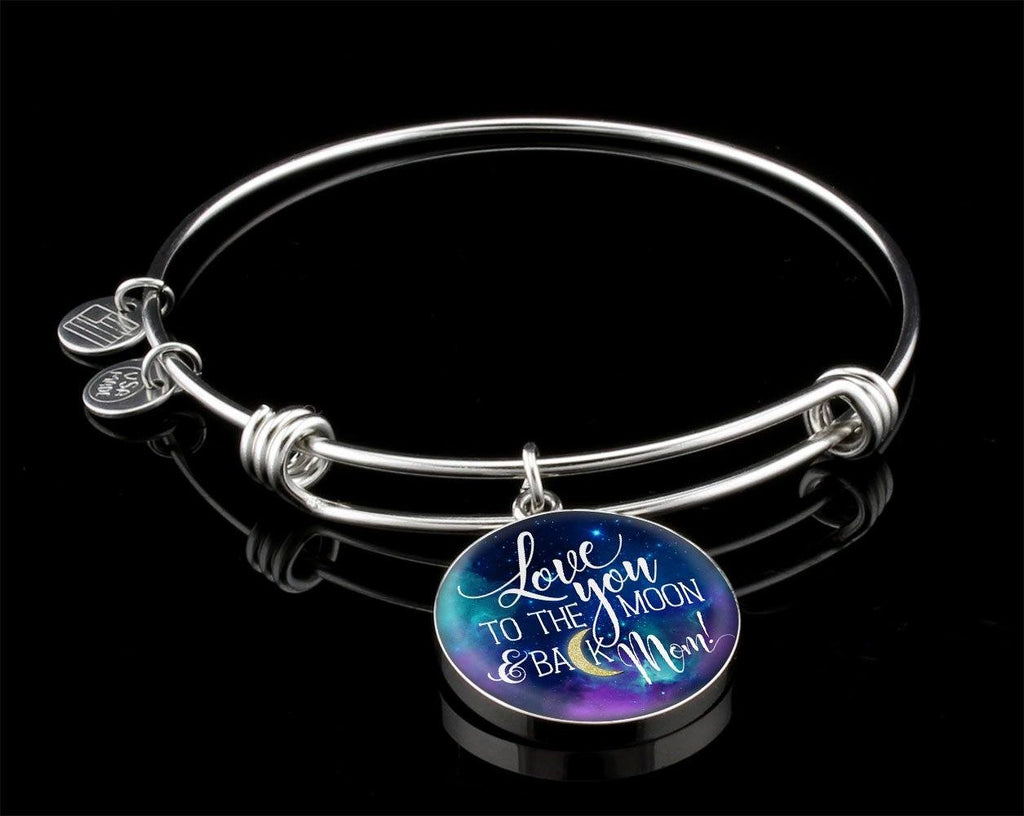 Mom Love You To The Moon Luxury Circle Bangle Jewelry Luxury Bangle (Silver) Yes