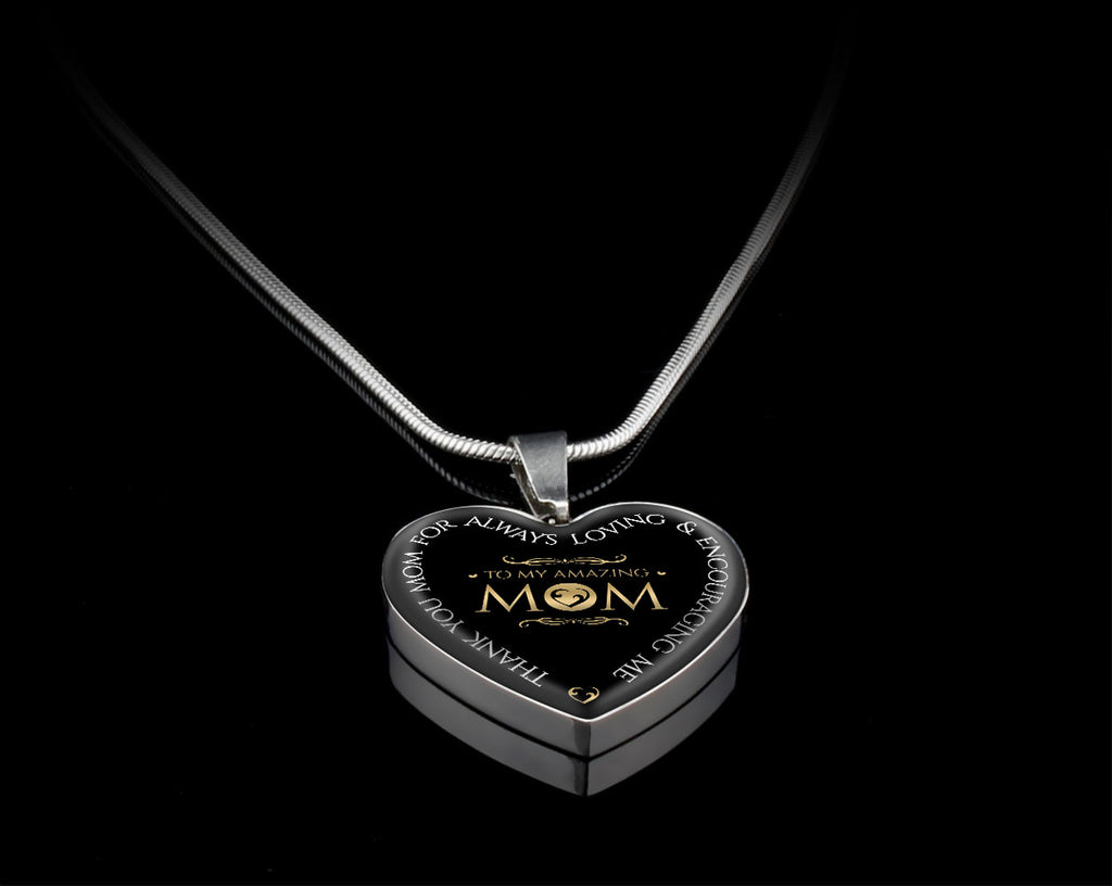 To My Amazing Mom Luxury Heart Necklace