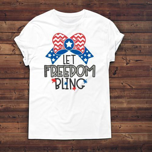 Let Freedom Bling Apparels Adult T-Shirt White S