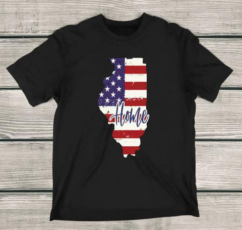 Illinois Home Apparels Adult T-Shirt Black S