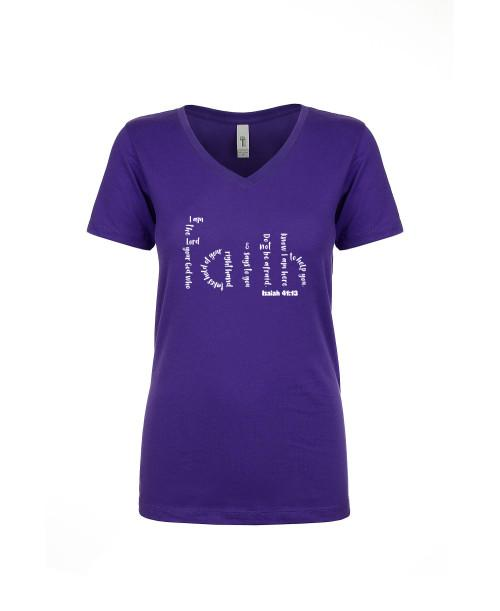 Adult T-Shirt Apparel Ladies V neck Tee Purple Rush S