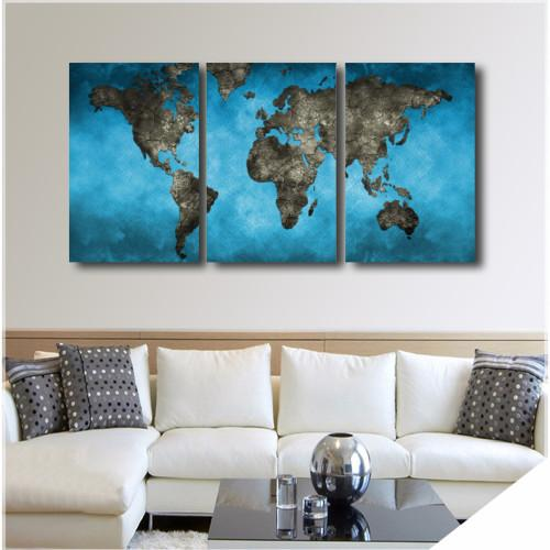 "Blue World Map WallArts 3-Panel 36"" x 16"""