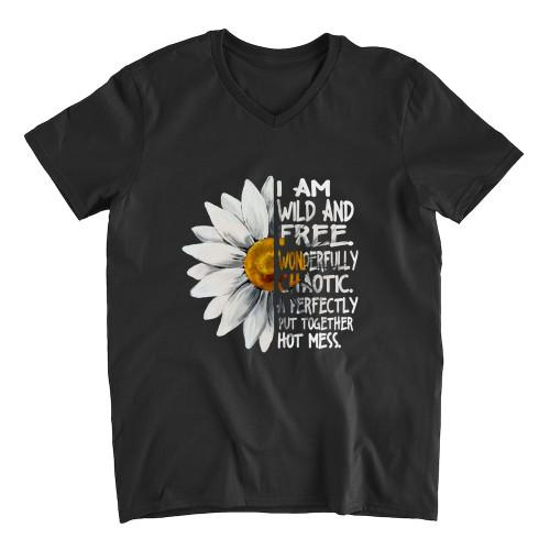 I am wild and free Apparel Unisex V-neck S