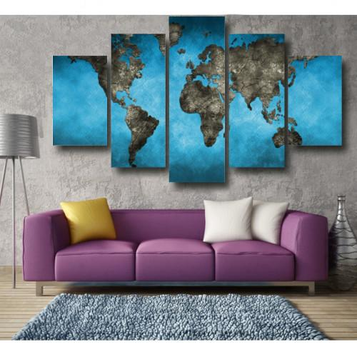 "Blue World Map WallArts 5-Panel 60"" x 36"""