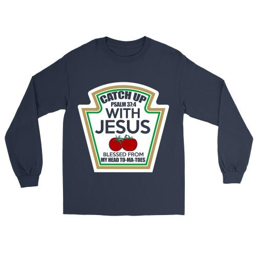 Catch Up With Jesus Apparel Long-Sleeve T-Shirt Navy S
