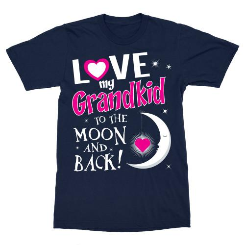 Love My Grandkid To The Moon & Back Apparel Adult T-Shirt Navy S