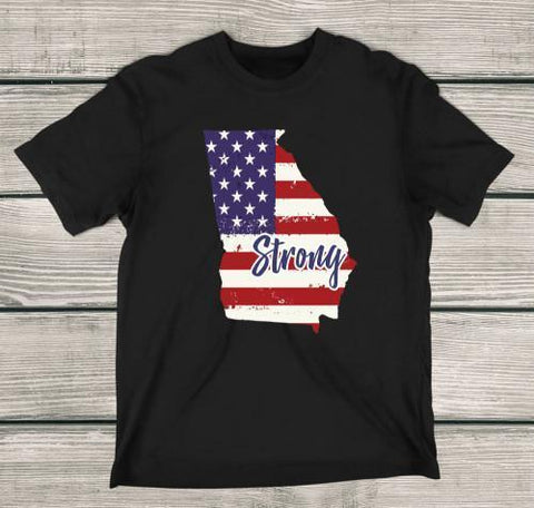 Georgia Strong Apparels Adult T-Shirt Black S