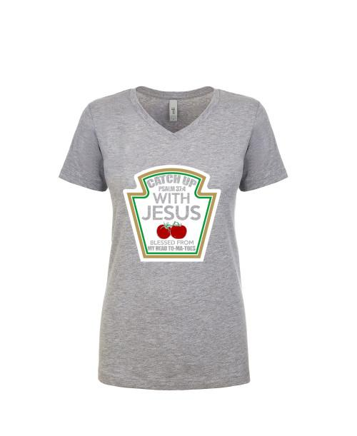 Catch Up With Jesus Apparel Ladies V neck Tee Heather Gray S