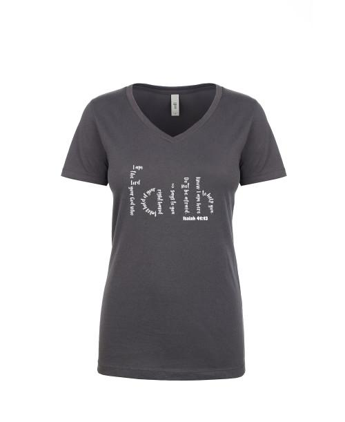 Adult T-Shirt Apparel Ladies V neck Tee Dark Gray S