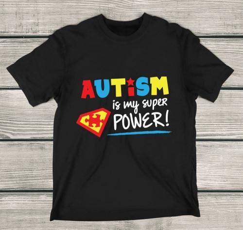 Autism Is My Super Power Apparels Adult T-Shirt Black S