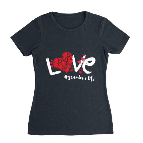 Love Grandma Life Budget Apparel Womens Fit Heather Navy S