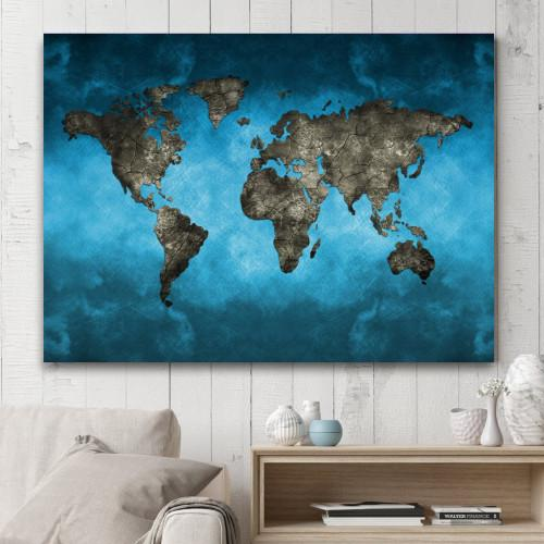 "Blue World Map WallArts 1-Panel 24"" x 36"""