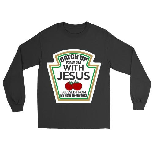 Catch Up With Jesus Apparel Long-Sleeve T-Shirt Black S