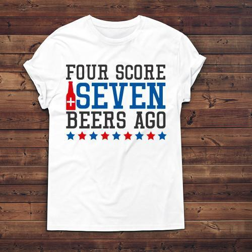 Four Score Seven Beers Ago Apparels Adult T-Shirt White S